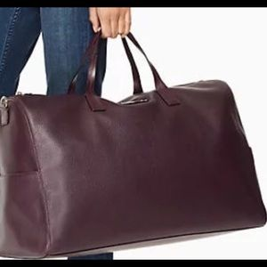 kate spade soft mahogany leather overnight bag EUC